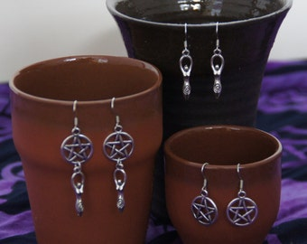 Mother earth earrings, available in 3 different styles (pentagram, Gaia, pagan)