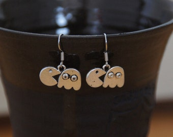 Retro pacman and ghost earrings