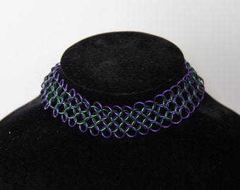 Chainmaille choker 'Psychedelic' (european 4 in 1)