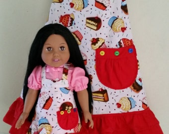 Girl's Size 7/8 Cupcakes Printed Apron With matching AG/CBK/18Inch Doll Apron