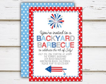 Glory - Printable / Printed 4th of July Invitation / Backyard Barbecue / Fourth of July