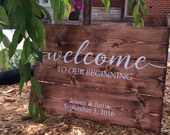 Welcome to our beginning sign, established sign, wedding welcome sign