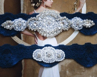 A Style -Wedding  Garters -  Navy Wedding Garter- Navy Lace Garter - Navy Garter Belt - Navy Garter Set -  Navy Bridal Garter Set  - G 10574