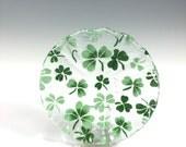 Shamrock Bowl, Fused Glass Dish, Irish Design, Celtic, Clover, Irish Decor