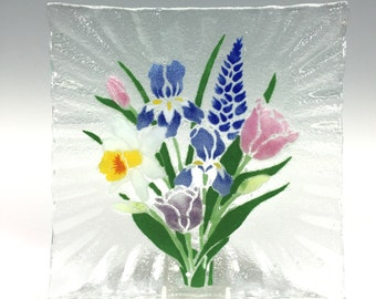 Spring Flowers Serving Dish Square