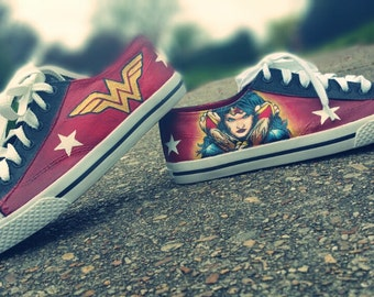 Wonder Woman Handpainted Shoes