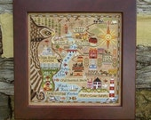 "CARRIAGE HOUSE SAMPLINGS: ""Map of Hawk Run Hollow"" - Primitive Map Cross Stitch Sampler Pattern - 8th in the Hawk Run Hollow Series"