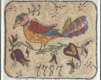 """THREE SHEEP STUDIO """"1787 Fraktur"""" - Primitive Punch Needle Pattern/Chart 