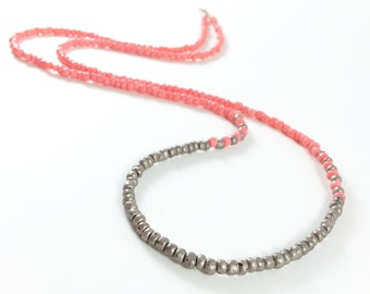 Long Beaded Necklace, Long pink and silver Necklace, boho fall necklace, Long layering Necklace, Long Seed Bead Necklace