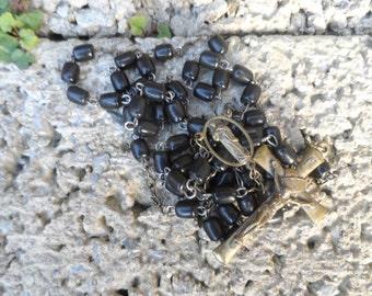 Vintage prayer beads - vintage Catholic rosary beads - 1940's vintage religious beads - black vintage