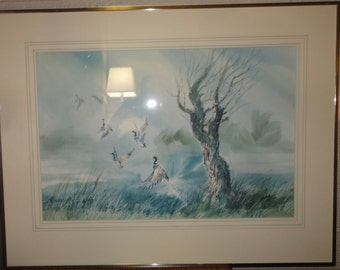 Vintage Ducks Flying Water Colors/Signed