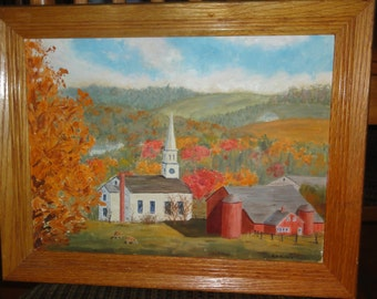 Vintage Church Oil Painting Signed R. N. Nichols