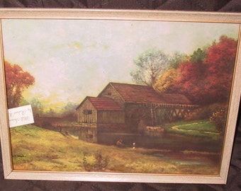 Vintage Robert Woods Litho/Titled Mill Stream