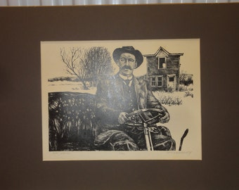 "Vintage Signed/ Numbered Etching/ Titled ""Auto Wishing"""