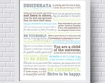 Desiderata Print, Graduation Gift, Max Ehrmann, Inspirational Poem, Wall Decor, Motivational Wall Art, Typography, Child of the Universe