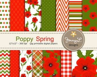 Spring Poppy Digital Paper, Poppies Flower, Floral  for Birthday, digital Scrapbooking, Wedding, Baptism