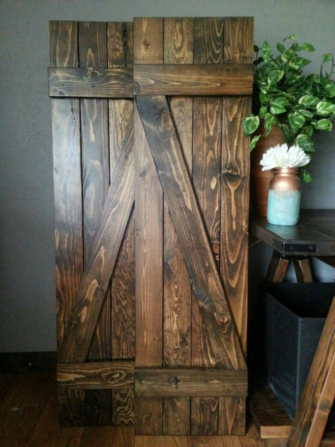 Z bar rustic wood shutters 60 wooden shutters barnwood for Wood doors and shutters