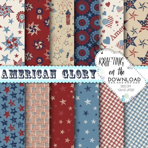 Patriotic 4th of July Rustic Digital Paper Pack American Glory USA Red Blue Scrapbook Pages Crafting Instant Download