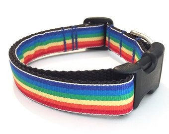 Rainbow medium dog collar