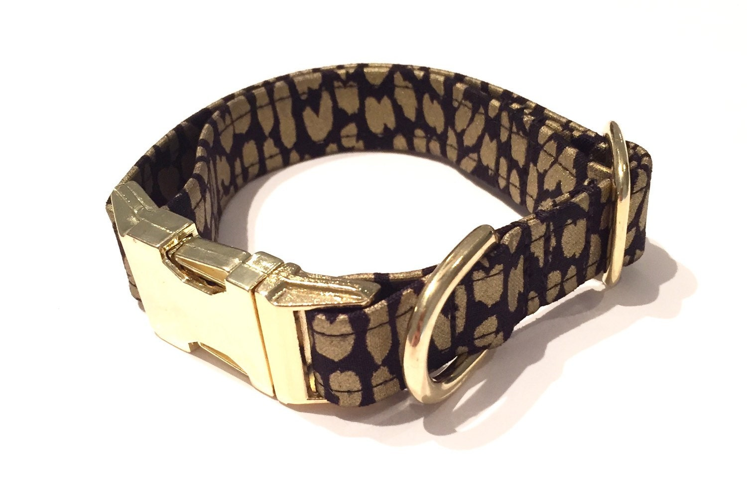 Black And Gold Leopard Print Dog Collar