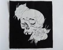 Skull & Roses sew on back patch, classic tattoo art, screenprint patch