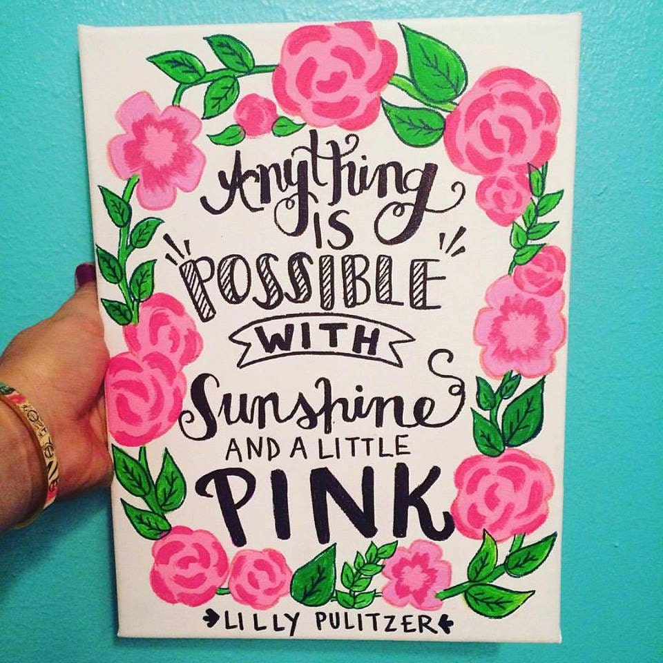 lilly pulitzer sunshine and pink canvas quote. Black Bedroom Furniture Sets. Home Design Ideas
