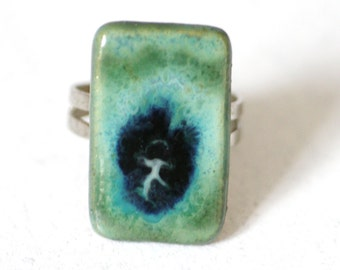 beautiful vintage porcelain ring • blue green • adjustable ring, pottery jewelry