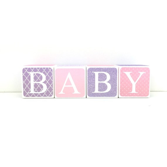 Wood Purple and Pink BABY Block Set 2 Ready to Ship
