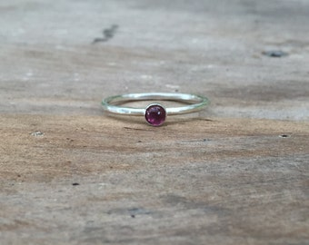 Pink Tourmaline and Sterling Silver Ring, Gemstone ring
