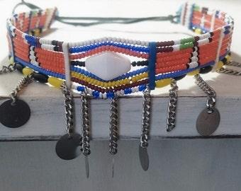 """Orange Maasai Necklace """"Engotoo"""""""
