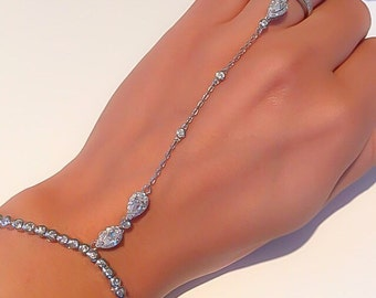"The ""La Vita"" sterling silver/ cz diamond hand chain"