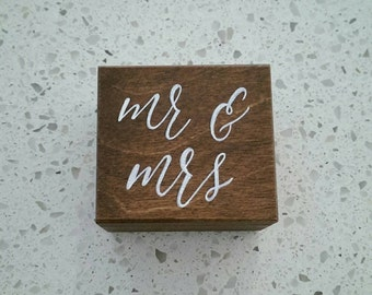 Wooden ring box with white lettering. Rustic Wedding ring box. Ring pillow alternative