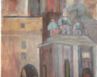 Vintage impressionist cityscape oil painting church