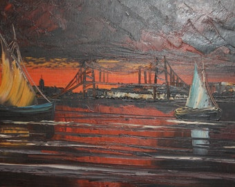 Vintage impressionist oil painting sunset seascape boats signed