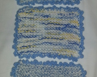 100% Cotton Knit Handmade Set Of 3 Multi-Blue Baby Boy Burping Clothes / Washclothes
