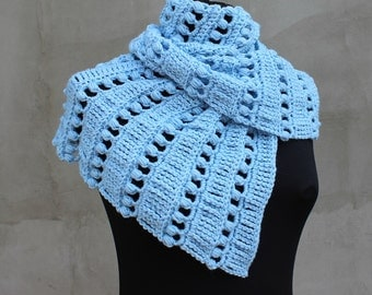 Baktus Scarf Crocheted Baktus Handmade Shawl Blue Triangle Scarf  Boho Shawl Gifts for Her Crocheting
