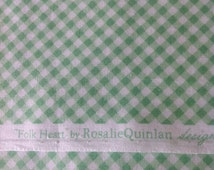Folk Heart, Fabric by Rosalie Quinlan Designs, for  Lecien, Made in Japan, Green and White Check Fabric, Fabric cut from the Bolt