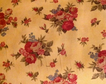 Vienna Nights, Yellow fabric, by 3 Sisters, for Moda, Floral Fabric by the yard, Floral Fabric, Rose fabric
