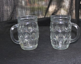 Pair of Reims Glass Dimpled Beer Mugs made in France