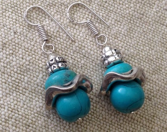 Turquoise TibetanSilver Earrings