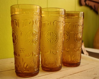 Vintage Amber Colored Tall Ornate Drinking Glasses - Set of Three