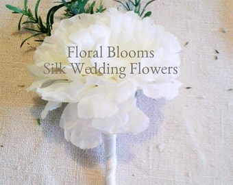 Artificial Ivory carnation Buttonhole/Boutonniere.  Silk wedding flowers, Groom, Bestman, Groomsmen, Ring bearer
