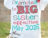Announcement shirt-Big sister shirt-Promoted big sister-custom shirt-custom onesie-effective-embroidered promoted shirt