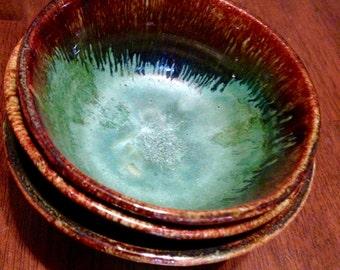 Modern Turquoise Stoneware Nesting Bowls Set of 3