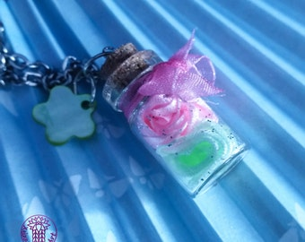 Pink/Green Roses Bottle Charm Necklace