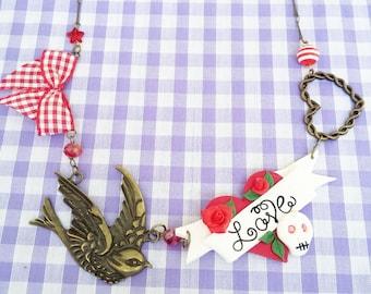 Love Heart & Skull Tattoo Art Necklace Retro Rockabilly Pin Up 50s