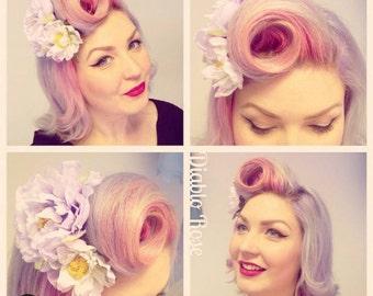 Single lilac peony flower hair clip