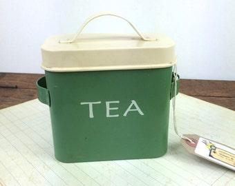 Retro green tea storage tin