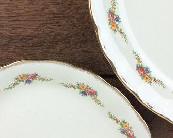Pretty vintage oval ceramic serving platters, Creampetal design by Grindley, England
