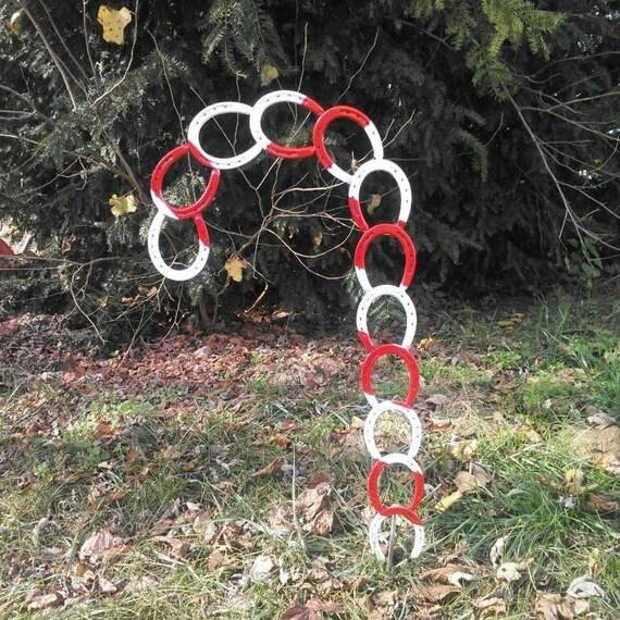 Items similar to horse shoe candy cane on etsy for Horseshoe christmas art